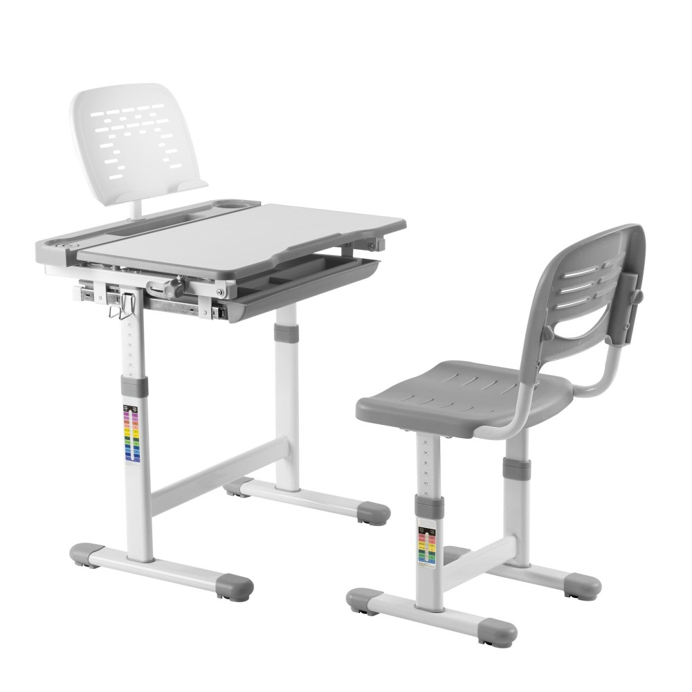 Midi grey desk and chair for boys and girls for Grey childrens chair